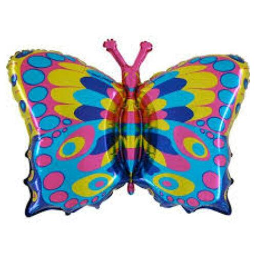 Színes pillangó héliumos lufi