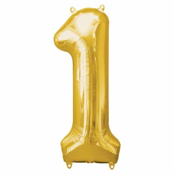 Arany 1 szám szülinapi héliumos lufi