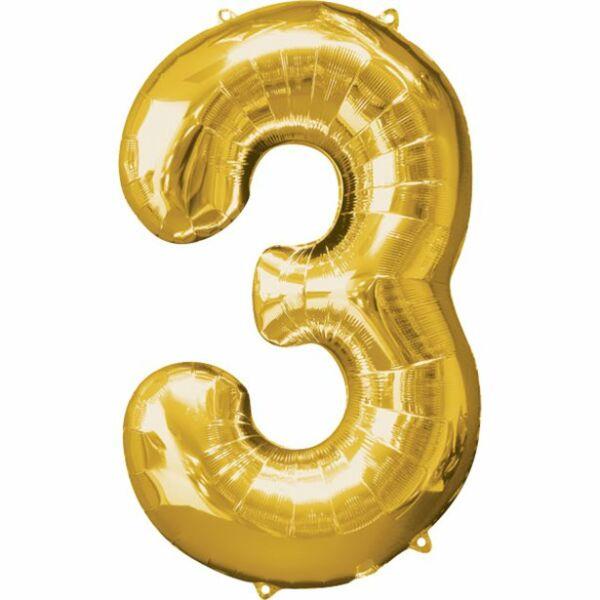 Arany 3 szám szülinapi héliumos lufi