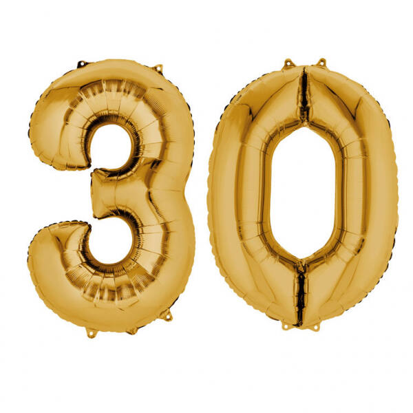 Arany 30 szám szülinapi héliumos lufi