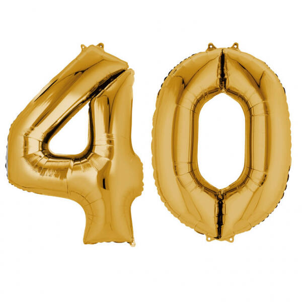 Arany 40 szám szülinapi héliumos lufi