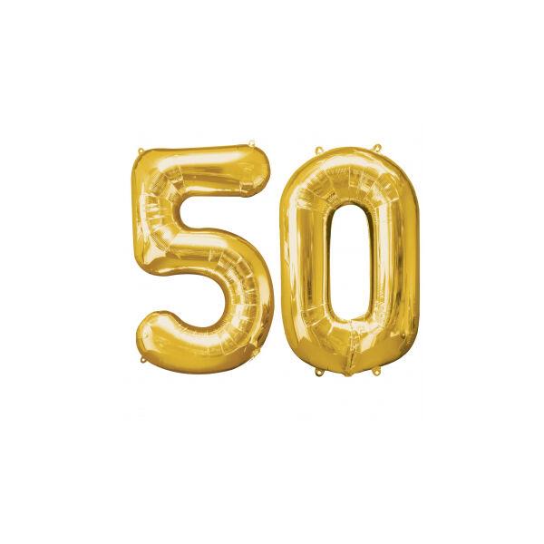Arany 50 szám szülinapi héliumos lufi