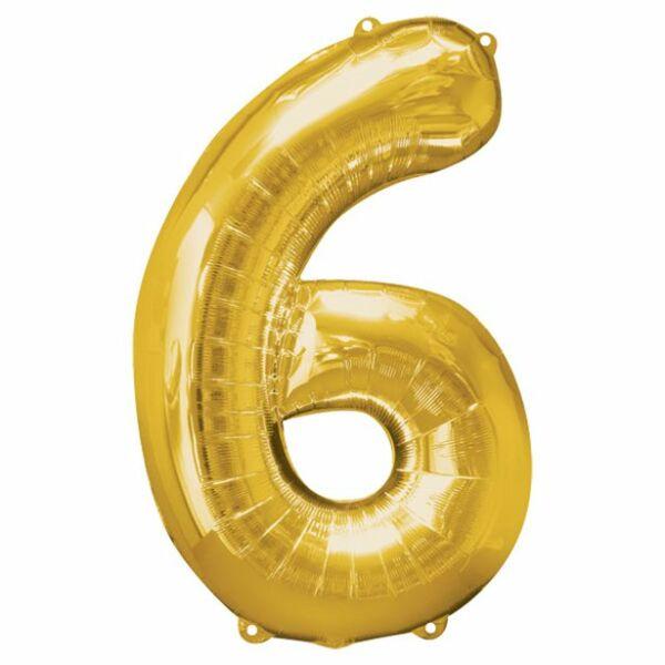 Arany 6 szám szülinapi héliumos lufi