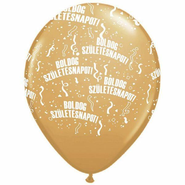Arany boldog születésnapot héliumos lufi
