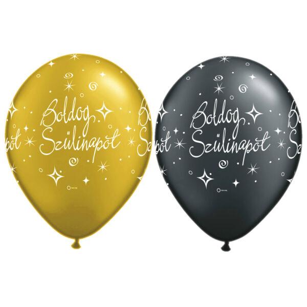 Arany és fekete boldog szülinapot héliumos lufi