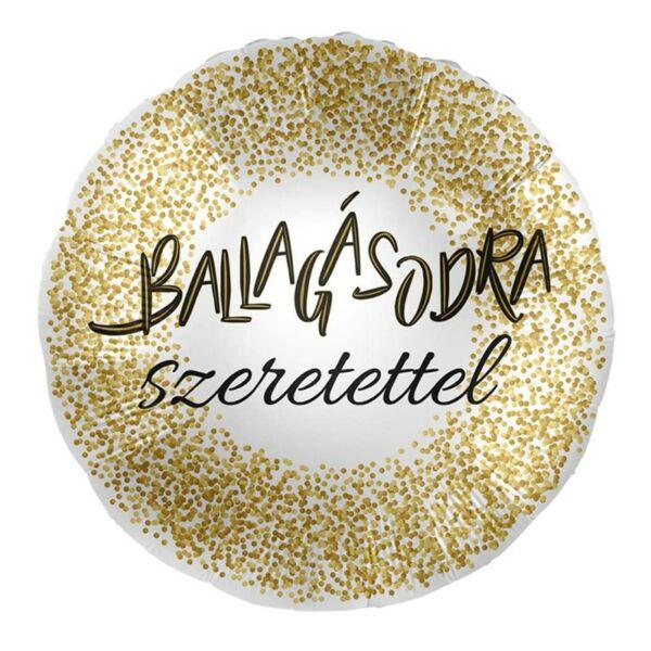 Arany konfettis ballagásodra szeretettel héliumos lufi