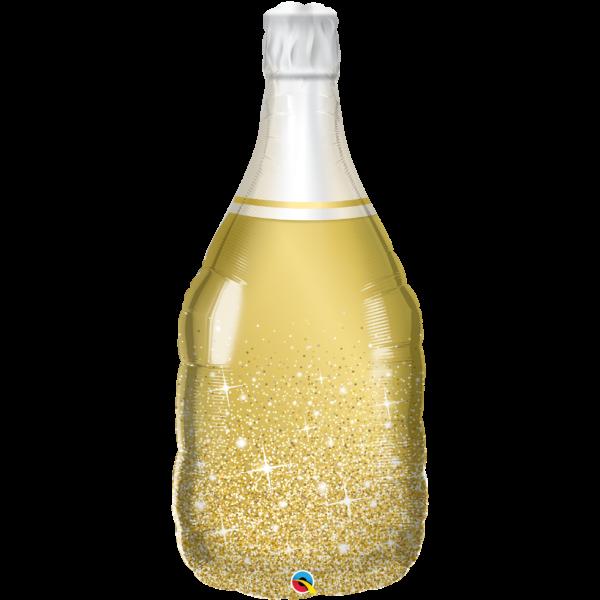 Arany pezsgős üveg héliumos lufi