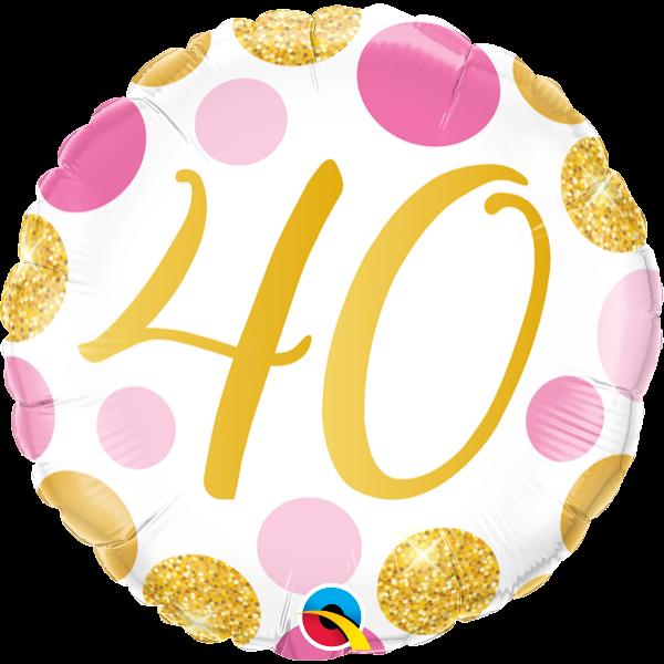 Arany-pink pöttyös 40 szülinapi héliumos lufi