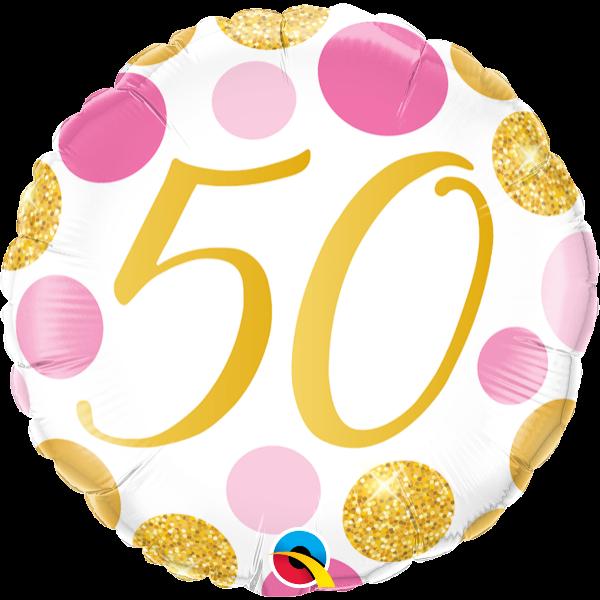 Arany-pink pöttyös 50 szülinapi héliumos lufi