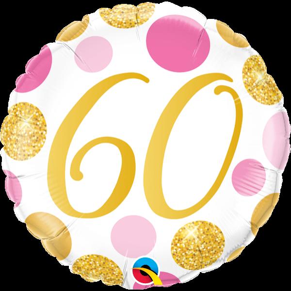 Arany-pink pöttyös 60 szülinapi héliumos lufi