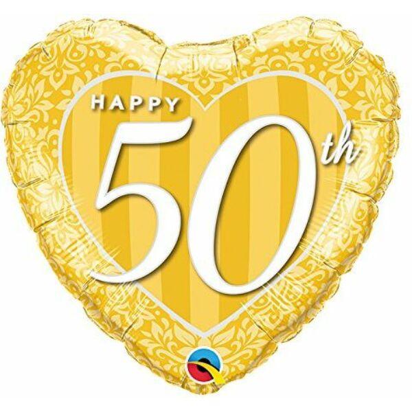 Arany szív 50 évfordulóra héliumos lufi