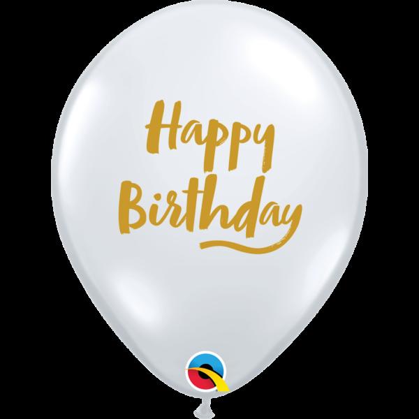 Átlátszó arany feliratos Happy Birthday héliumos lufi