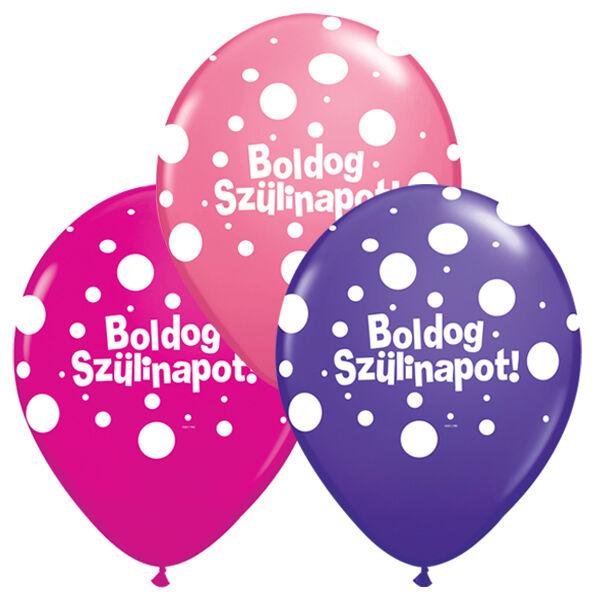 Pöttyös boldog szülinapot héliumos lufi lányos színekben