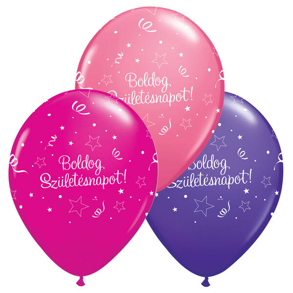 Szerpentines boldog szülinapot héliumos lufi lányos színekben