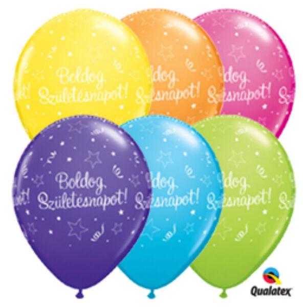 Boldog születésnapot héliumos lufi szerpentines