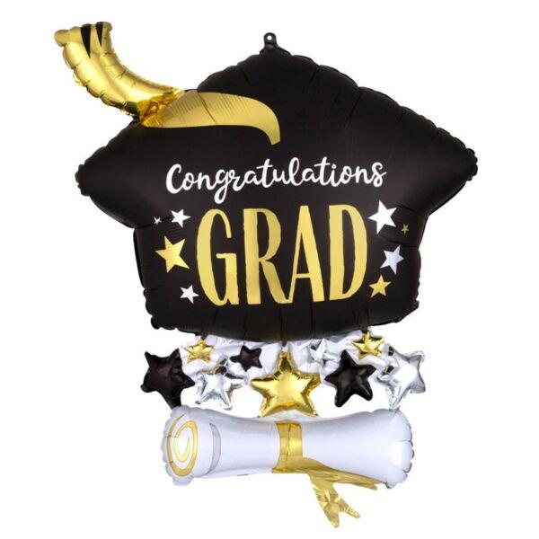 Diplomaosztó kalap tekerccsel ballagási héliumos lufi