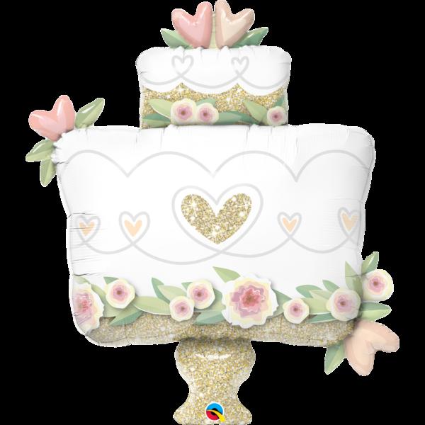 Elegáns esküvői torta héliumos lufi
