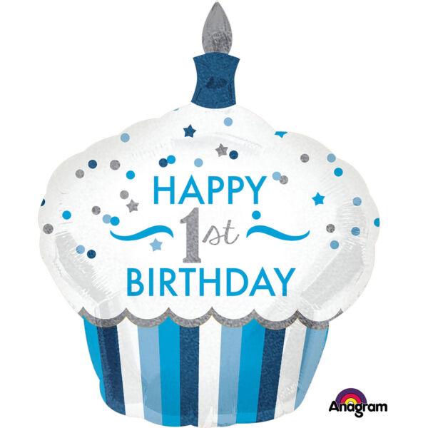Első szülinapi kék muffin héliumos lufi