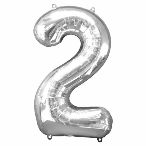 Ezüst 2 szám szülinapi héliumos lufi