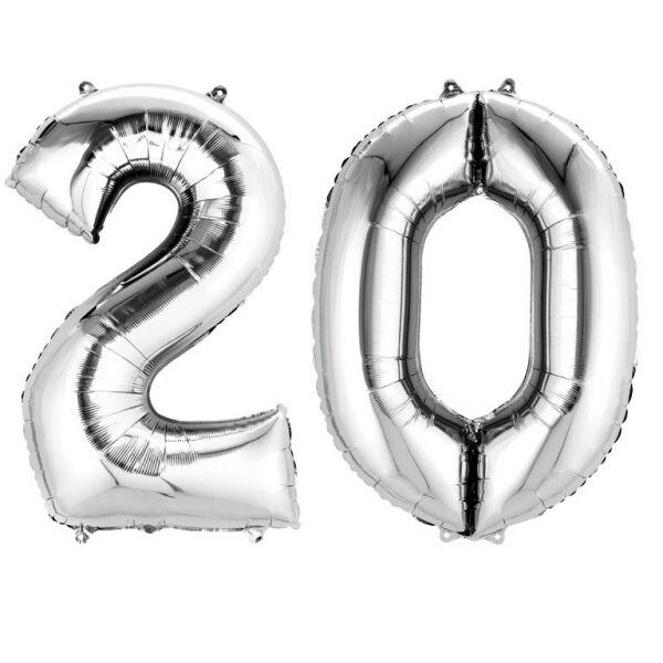 Ezüst 20 szám szülinapi héliumos lufi