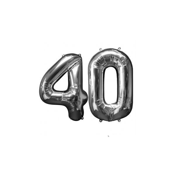 Ezüst 40 szám szülinapi héliumos lufi