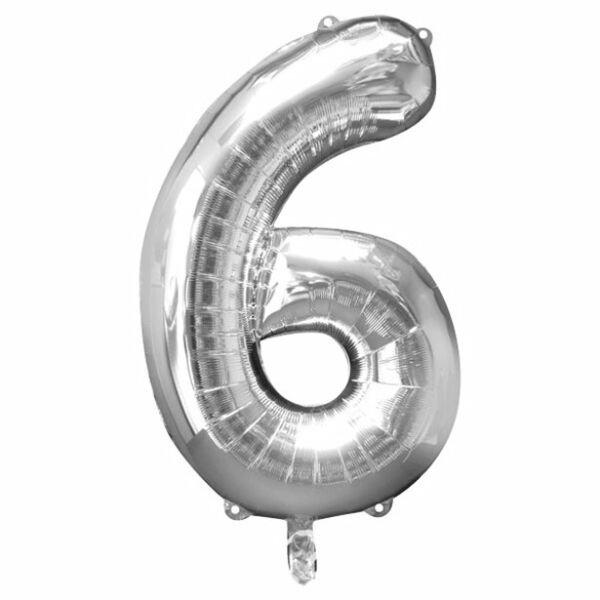 Ezüst 6 szám szülinapi héliumos lufi