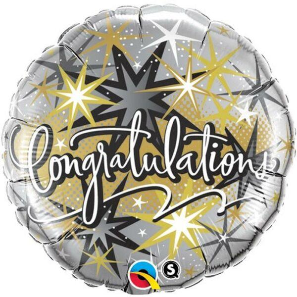 Ezüst arany csillagos gratulálunk lufi