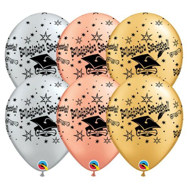 Ezüst-rose gold-arany ballagásodra szeretettel diplomaosztó kalapos latex lufi 6 db