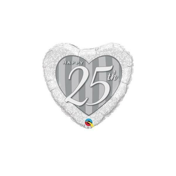 Ezüst szív 25 évfordulóra héliumos lufi