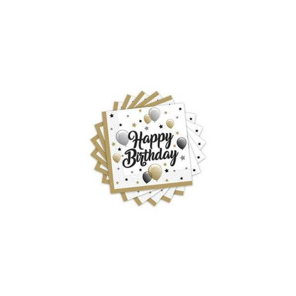 Fekete-arany lufis happy birthday szülinapi szalvéta