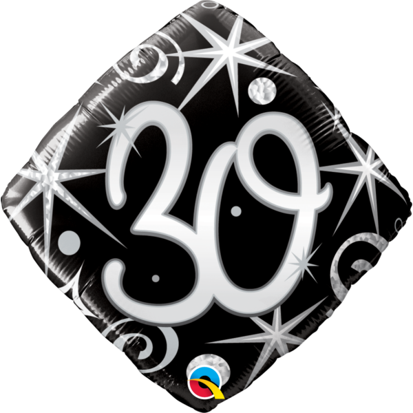 Fekete-ezüst csillagos 30 szülinapi héliumos lufi