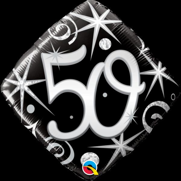Fekete-ezüst csillagos 50 szülinapi héliumos lufi