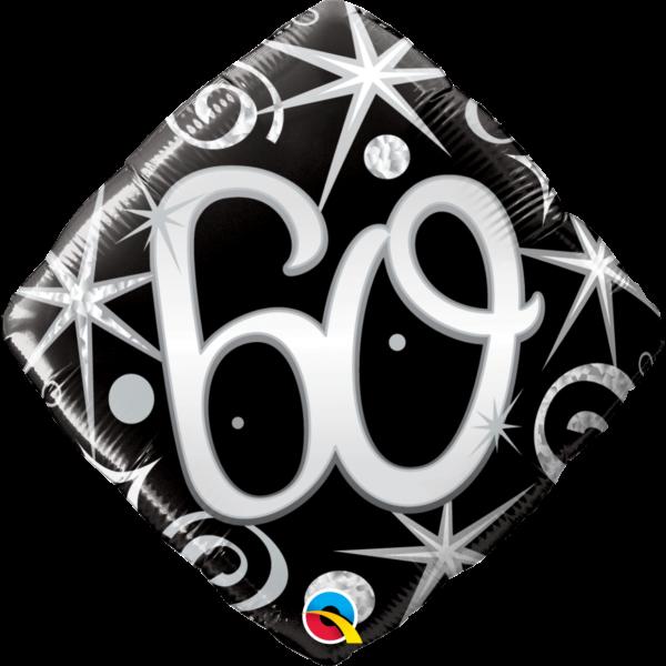 Fekete-ezüst csillagos 60 szülinapi héliumos lufi