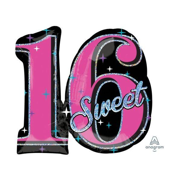 Fekete-pink sweet 16 szülinapi héliumos lufi