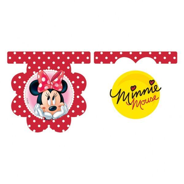 Minnie egér pöttyös-virágos zászlófüzér