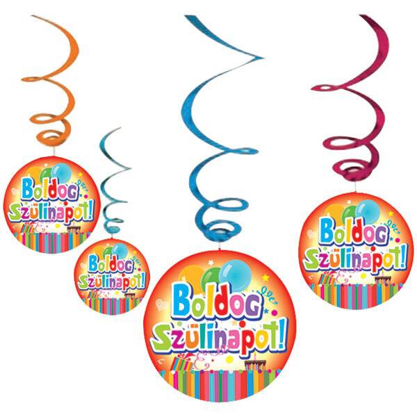 Boldog szülinapot függő dekoráció színes lufis 6 db