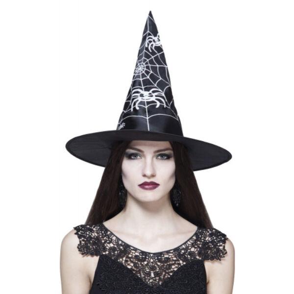 Fekete pókhálós pókos boszorkány kalap