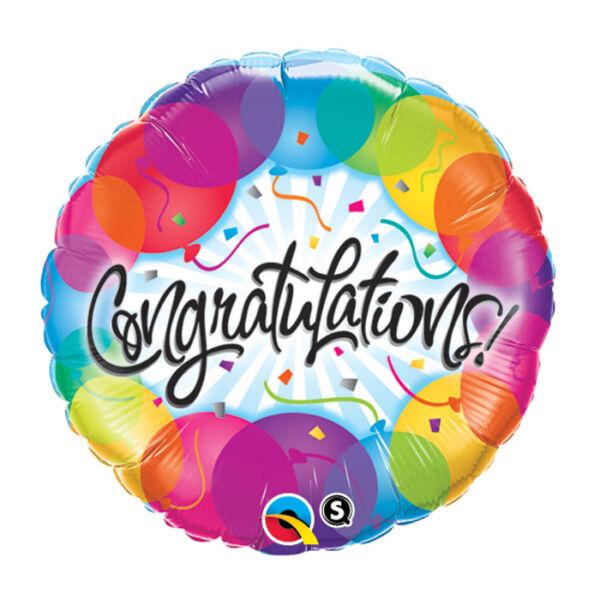 Gratulációs héliumos lufi színes lufis