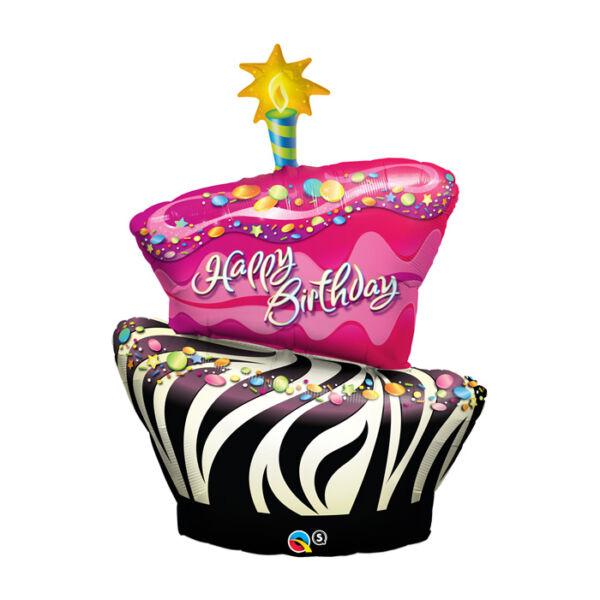 Pink-fekete torta szülinapi héliumos lufi