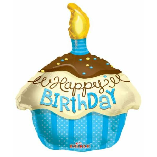 Kék szülinapi muffin héliumos lufi