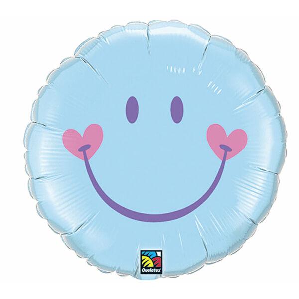 Kék szíves smile héliumos lufi