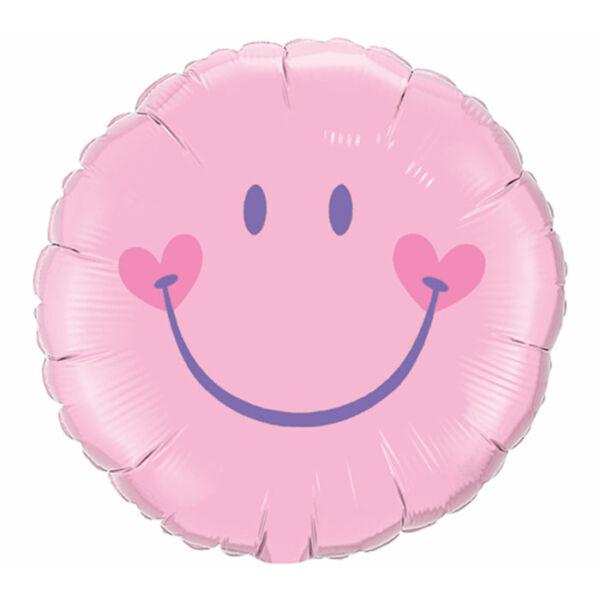 Rózsaszín szíves smile héliumos lufi