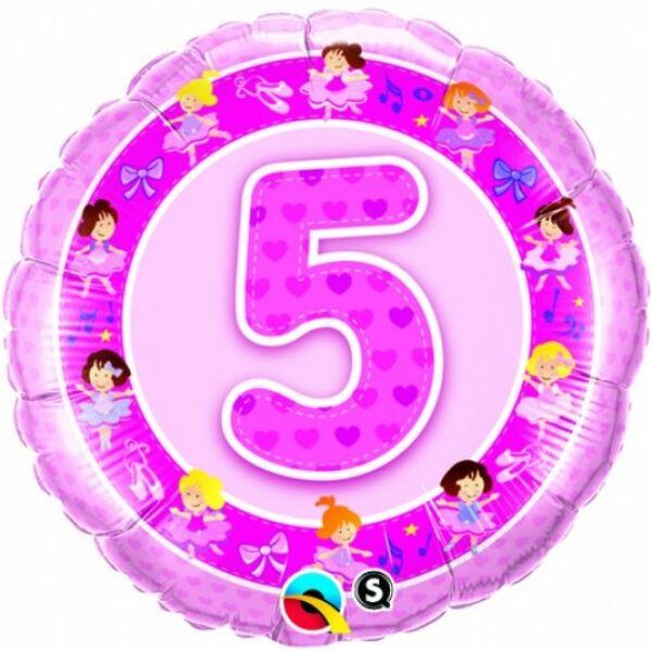 5 szülinapi rózsaszín balerinás héliumos lufi