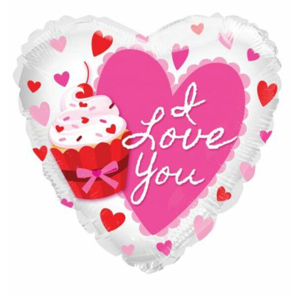 Pink szíves-muffinos héliumos lufi