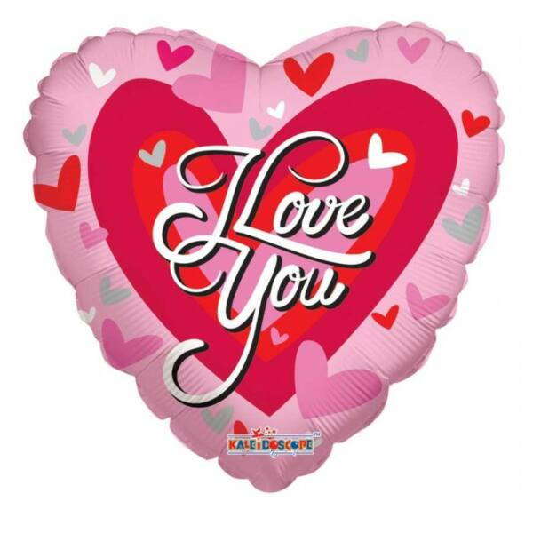 Piros-pink szíves I love you héliumos lufi