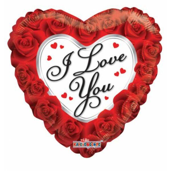 Rózsás szív héliumos lufi