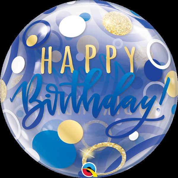 Kék-arany szülinapi bubble héliumos lufi