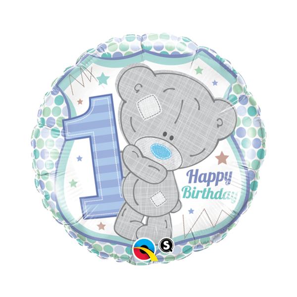 Kék teddy macis első szülinapi héliumos lufi