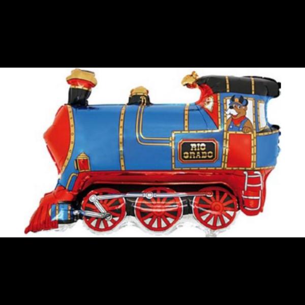 Kék mozdony héliumos lufi