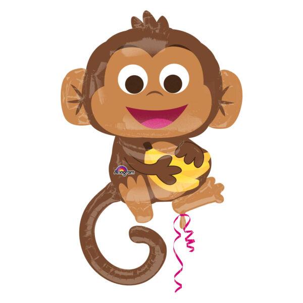 Kis majom banánnal héliumos lufi